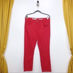 PILCRO Red Script High-Rise Cropped Flares Size 31